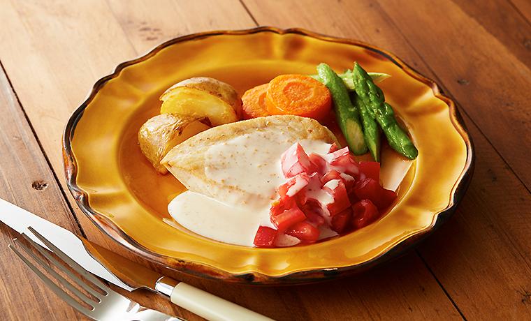 かじきと温野菜のシーザーソース