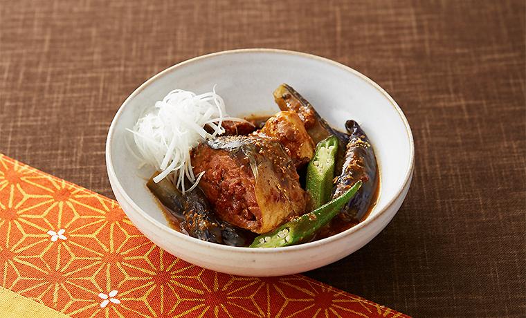 夏野菜とサバのピリ辛アマニ味噌